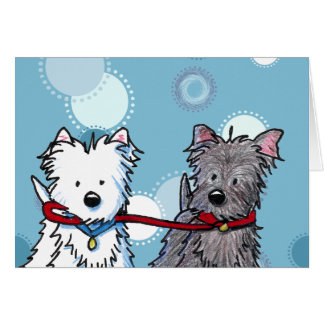 KiniArt Terrier Walking Buddies Greeting Card