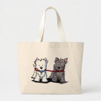 KiniArt Terrier Walking Buddies Large Tote Bag