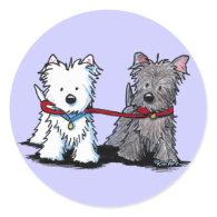 KiniArt Terrier Walking Buddies Stickers