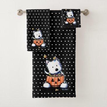 Halloween Themed KiniArt Treat-Or-Treat Westie Bath Towel Set
