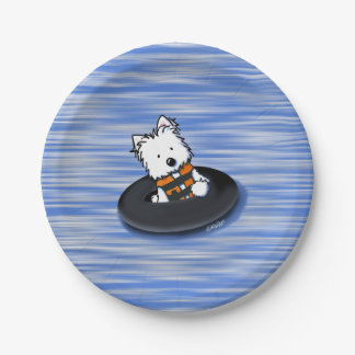 KiniArt Waterplay Westie Paper Plates 7 Inch Paper Plate