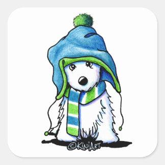 KiniArt Wee Winter Westie Square Sticker