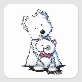 KiniArt Westie and Tilly Cat Square Sticker
