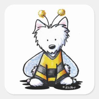 KiniArt Westie Bee Square Sticker