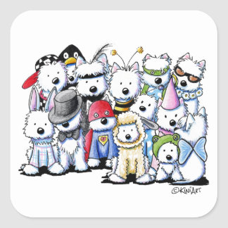 KiniArt Westie Costume Party Square Sticker