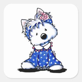 KiniArt Westie Darling In Dots Square Sticker