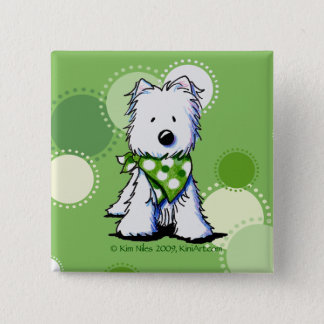 KiniArt Westie Dog Green Dots Pin