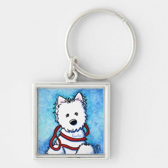 KiniArt Westie Dog Painting Keychain