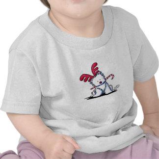 KiniArt Westie Dog Reindeer T Shirts