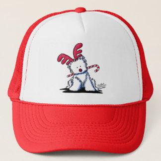 KiniArt Westie Dog Reindeer Trucker Hat