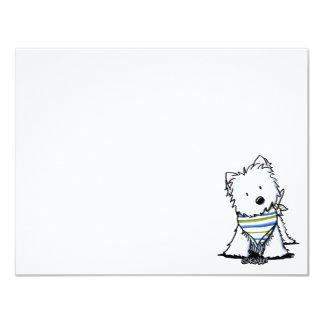 """KiniArt Westie en tarjeta plana de la bufanda Invitación 4.25"""" X 5.5"""""""