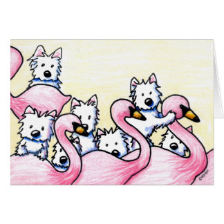KiniArt Westie Flamingos Card