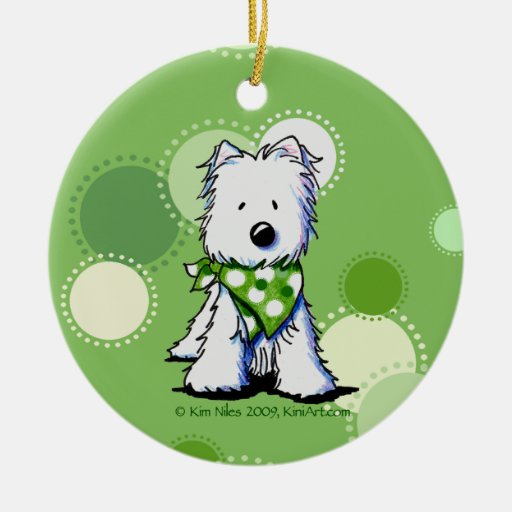 KiniArt Westie Green Dots Ornament