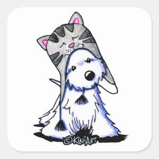 KiniArt Westie Kitty Square Sticker