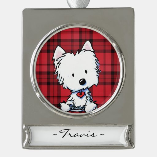 KiniArt Westie Personalized Ornament Silver Plated Banner Ornament