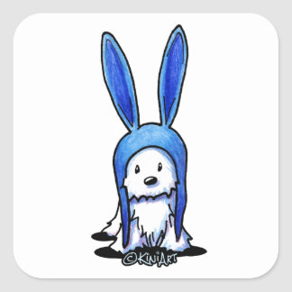 KiniArt Westie Rabbit Square Sticker
