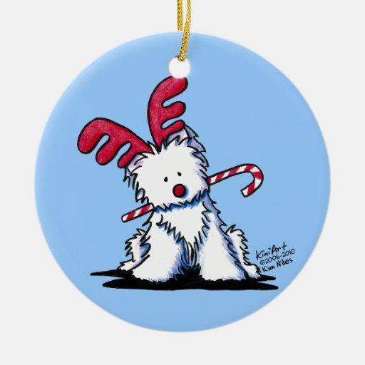 KiniArt Westie Reindeer Round Ornament