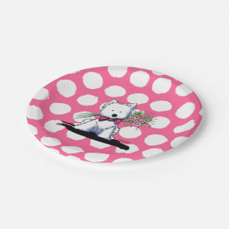 KiniArt Westie Terrier Valentine Party Plates