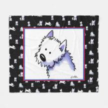 KiniArt Westie Terriers Fleece Blanket
