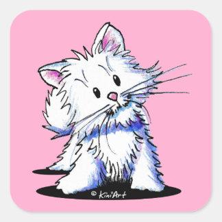 KiniArt White Kitten Square Sticker