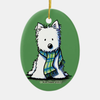 KiniArt Winter Scarf Westie Ceramic Ornament