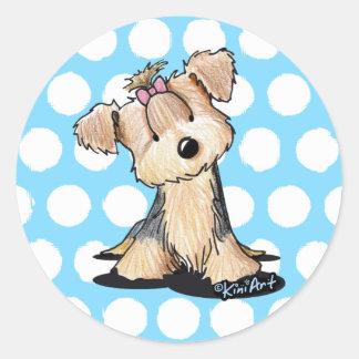 KiniArt Yorkie Darlin' May Classic Round Sticker