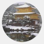 Kinkaku Snow Classic Round Sticker