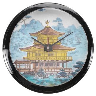 Kinkakuji Temple Kamei Tobei japanese scenery art Fish Tank Clock