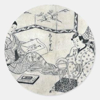 Kinko y Echizen por el omori, Yoshikiyo Ukiyoe Etiquetas Redondas