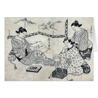 Kinko y Echizen por el omori Yoshikiyo Ukiyoe Tarjeta