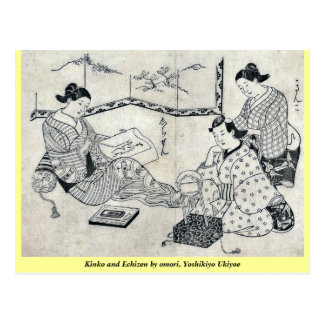 Kinko y Echizen por el omori Yoshikiyo Ukiyoe Postales