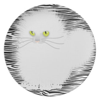 Kinky White Kitty Melamine Plate