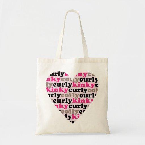 kinkycurlycoily heart tote bag