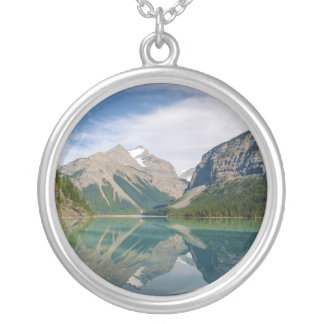 Kinney Lake and Mount Whitehorn near Mount Robson Silver Plated Necklace