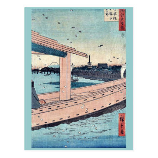 Kinryuzan Temple and bridge by Ando, Hiroshige Post Card