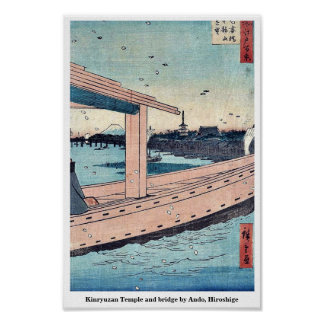 Kinryuzan Temple and bridge by Ando, Hiroshige Poster