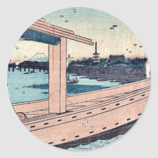 Kinryuzan Temple and bridge by Ando, Hiroshige Round Stickers