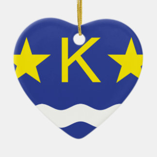 Kinshasha, Democratic Republic of the Congo flag Double-Sided Heart Ceramic Christmas Ornament