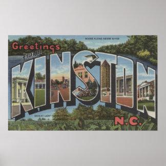 Kinston, North Carolina - Large Letter Scenes Poster