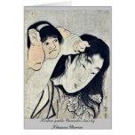 Kintaro grabbs Yamauba's hair by Kitagawa,Utamaro Stationery Note Card