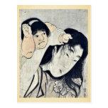 Kintaro grabbs Yamauba's hair by Kitagawa,Utamaro Post Card