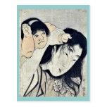 Kintaro grabbs Yamauba's hair by Kitagawa,Utamaro Postcard