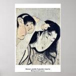 Kintaro grabbs Yamauba's hair by Kitagawa,Utamaro Poster