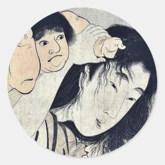 Kintaro grabbs Yamauba's hair by Kitagawa,Utamaro Classic Round Sticker