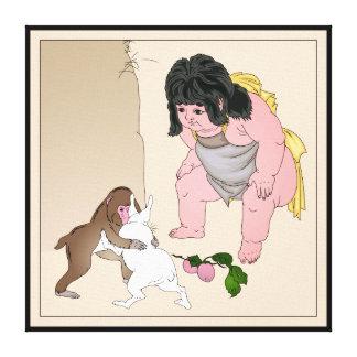 Kintoki, liebres y mono por Taiso, Yoshitoshi Ukiy Impresiones En Lona