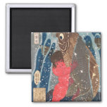 Kintoki Swims up the Waterfall 2 Inch Square Magnet