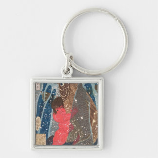 Kintoki Swims up the Waterfall Silver-Colored Square Keychain