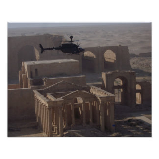 Kiowa over Iraqi Ruins Poster