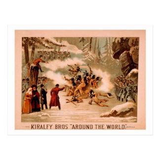 """Kiralfy """"Around the World"""" Indian Massacre Postcard"""