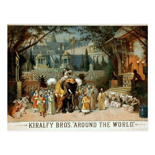 Kiralfy Bros 'Around the World' Retro Theater Postcard